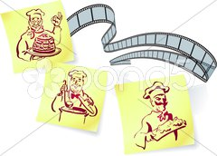 Cooking show Camera Film Strip background Stock Illustration
