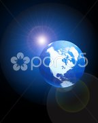 Globe on blue glowing background with lens flare Stock Illustration