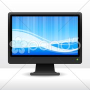Computer with globe Stock Illustration