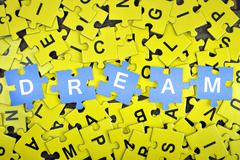 Puzzle with word Dream Stock Photos