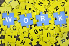 Puzzle with word Work Stock Photos