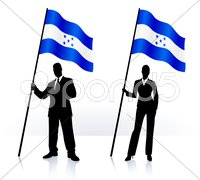 Business silhouettes with waving flag of Honduras Stock Illustration