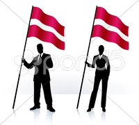 Business silhouettes with waving flag of Latvia Stock Illustration