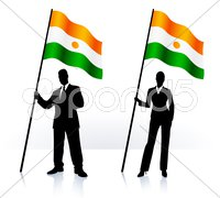 Business silhouettes with waving flag of Niger Stock Illustration
