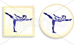 Gymnast Stamp and Button Stock Illustration
