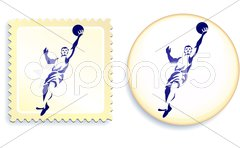Basketball Stamp and Button - stock photo