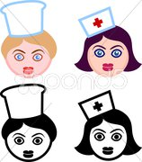 Female Heads of Nurses and Chefs Stock Illustration