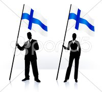 finland Flag Buttons on White and Black Background - stock illustration