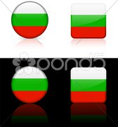Bulgaria Flag Buttons on White and Black Background Stock Illustration