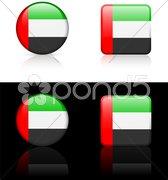 United Arab Emirates Flag Buttons on White and Black Background Stock Illustration