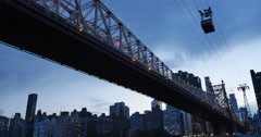 Nighttime Establishing Shot of Ed Koch Queensboro Bridge Roosevelt Island Tram Stock Footage