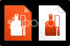 Cutting Board and Knife on Paper Set - stock illustration