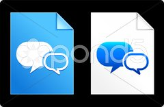 Chat Icons on Paper Set Stock Illustration