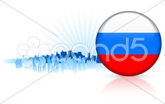 Russia Internet Button with Skyline Background Stock Illustration