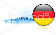 Germany internet button with skyline background Stock Illustration