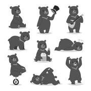 Cartoon bear vector set Stock Illustration