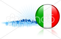 Italy Internet Button with Skyline Background Stock Illustration