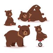 Cartoon bear vector set Stock Illustration