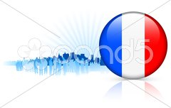 France Internet Button with Skyline Background Stock Illustration