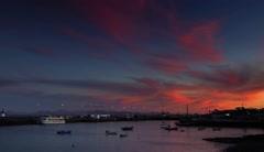 Playa Blanca harbour at dusk Stock Footage