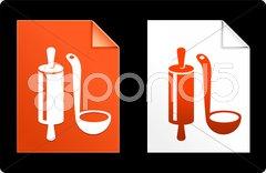 Utensil on Paper Set Stock Illustration