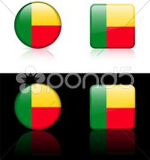 Benin Flag Buttons on White and Black Background Stock Illustration