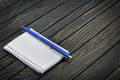 Notepad on table Stock Photos