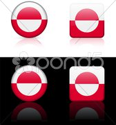 Greenland Flag Buttons on White and Black Background Stock Illustration
