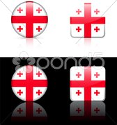 Georgia Flag Buttons on White and Black Background Stock Illustration