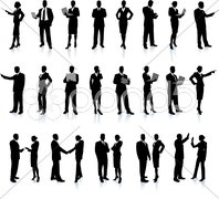 Business People Silhouette Super Set on black Stock Illustration