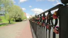 Quay with fencing in the city Stock Footage