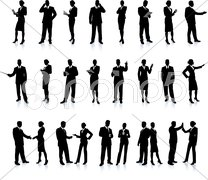 Business People Silhouette Super Set on black Stock Illustration