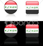 Iraq Flag Buttons on White and Black Background - stock illustration
