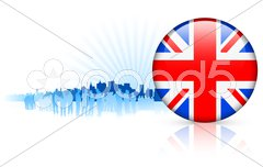 British Internet Button on Skyline Background Stock Illustration