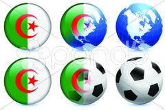 Algeria Flag Buttons on White and Black Background Stock Illustration