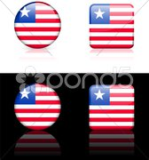 Liberia Flag Buttons on White and Black Background - stock illustration
