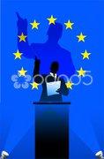 European Union flag with political speaker behind a podium - stock photo