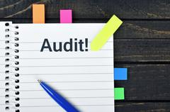 Audit word on notepad Stock Photos