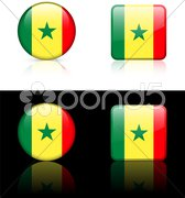 senegal Flag Buttons on White and Black Background - stock illustration