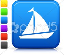 Sail boat icon on square internet button Stock Illustration