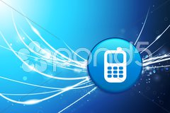Smart phone icon on square internet button Stock Illustration