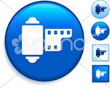 Film Reel Icon on Internet Button - stock illustration