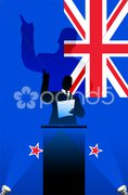 New Zeland flag with political speaker behind a podium - stock photo