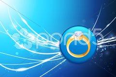Diamond engagement ring icon on square internet button Stock Illustration