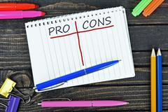 Pro and Cons text on notepad Stock Photos