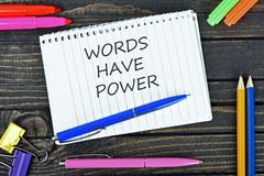 Words have power text on notepad Stock Photos