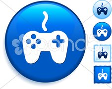 Game Controller Icon on Internet Button - stock photo