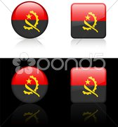 Angola Flag Buttons on White and Black Background Stock Illustration