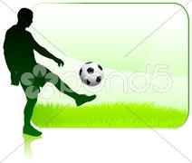 Soccer Player on Green Nature Frame Stock Illustration