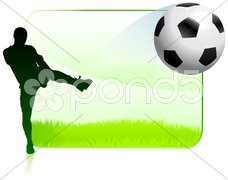 Soccer Player on Green Nature Frame - stock photo